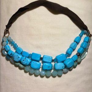 Turquoise Stones and Quartz leather Chocker
